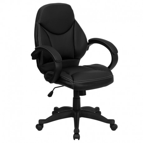 MFO Mid-Back Black Leather Contemporary Office Chair