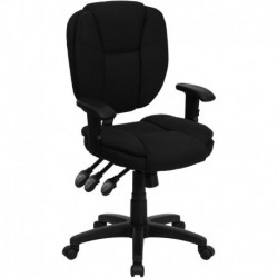 MFO Mid-Back Black Fabric Multi-Functional Ergonomic Task Chair with Arms
