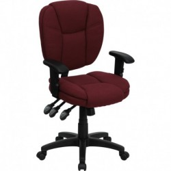 MFO Mid-Back Burgundy Fabric Multi-Functional Ergonomic Task Chair with Arms