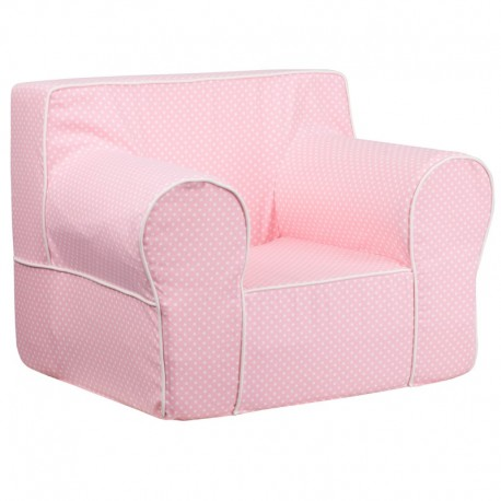 MFO Oversized Light Pink Dot Kids Chair with White Piping
