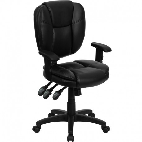 MFO Mid-Back Black Leather Multi-Functional Ergonomic Task Chair with Arms