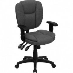MFO Mid-Back Gray Fabric Multi-Functional Ergonomic Task Chair with Arms