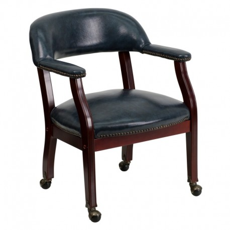 MFO Navy Vinyl Luxurious Conference Chair with Casters