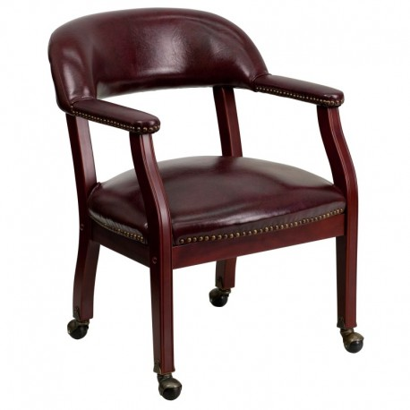 MFO Oxblood Vinyl Luxurious Conference Chair with Casters