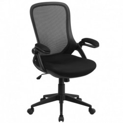 MFO High Back Executive Black Mesh Chair with Comfort Curved Back and Flip-Up Arms