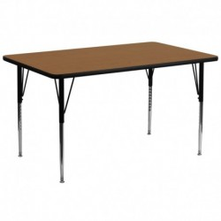 MFO 30''W x 72''L Rectangular Activity Table with Oak Thermal Fused Laminate Top and Standard Height Adjustable Legs