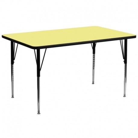MFO 30''W x 72''L Rectangular Activity Table with Yellow Thermal Fused Laminate Top and Standard Height Adjustable Legs
