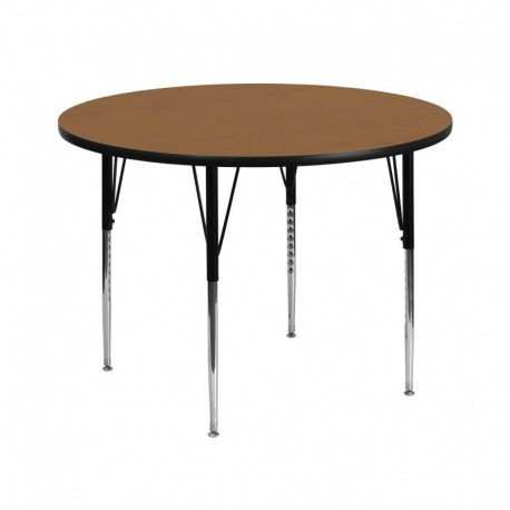 MFO 42'' Round Activity Table with Oak Thermal Fused Laminate Top and Standard Height Adjustable Legs