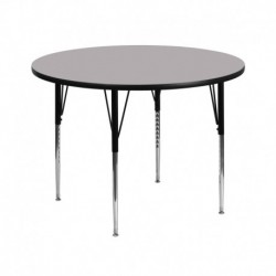 MFO 42'' Round Activity Table with Grey Thermal Fused Laminate Top and Standard Height Adjustable Legs