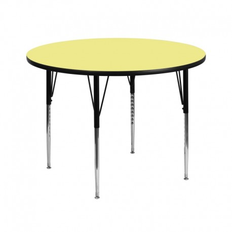 MFO 42'' Round Activity Table with Yellow Thermal Fused Laminate Top and Standard Height Adjustable Legs