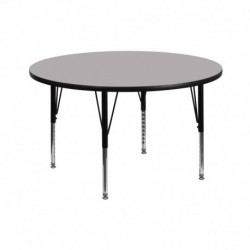 MFO 42'' Round Activity Table with Grey Thermal Fused Laminate Top and Height Adjustable Pre-School Legs