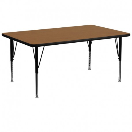 MFO 30''W x 72''L Rectangular Activity Table with Oak Thermal Fused Laminate Top and Height Adjustable Pre-School Legs