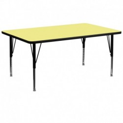 MFO 30''W x 72''L Rectangular Activity Table with Yellow Thermal Fused Laminate Top and Height Adjustable Pre-School Legs