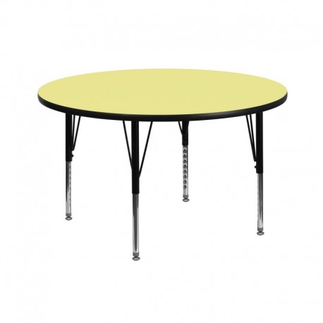 MFO 42'' Round Activity Table with Yellow Thermal Fused Laminate Top and Height Adjustable Pre-School Legs