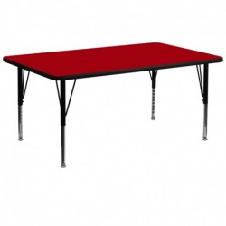 MFO 30''W x 72''L Rectangular Activity Table with Red Thermal Fused Laminate Top and Height Adjustable Pre-School Legs