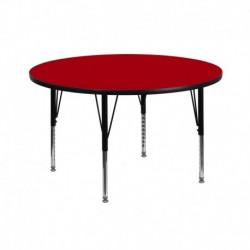 MFO 42'' Round Activity Table with Red Thermal Fused Laminate Top and Height Adjustable Pre-School Legs
