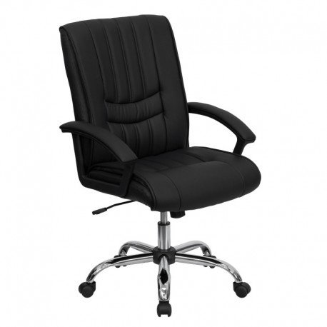 MFO Mid-Back Black Leather Manager's Chair