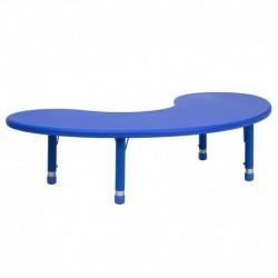 MFO 35''W x 65''L Height Adjustable Half-Moon Blue Plastic Activity Table