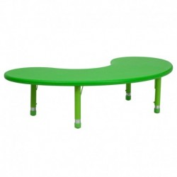 MFO 35''W x 65''L Height Adjustable Half-Moon Green Plastic Activity Table