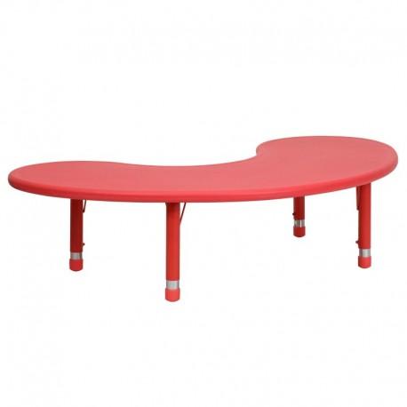 MFO 35''W x 65''L Height Adjustable Half-Moon Red Plastic Activity Table
