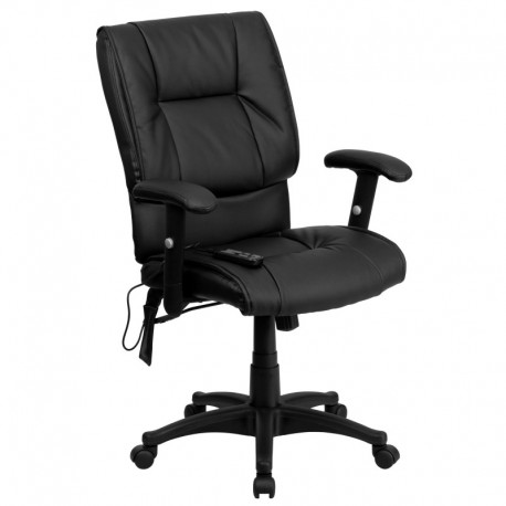 MFO Mid-Back Massaging Black Leather Executive Office Chair