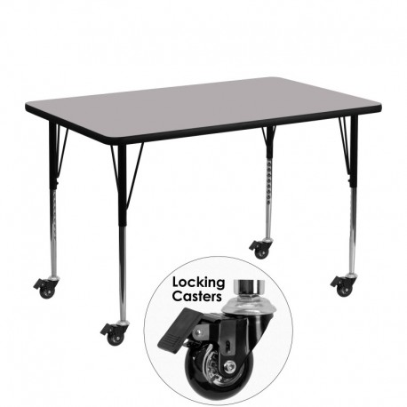 MFO Mobile 30''W x 48''L Rectangular Activity Table with Grey Thermal Fused Laminate Top and Standard Height Adjustable Legs