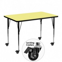 MFO Mobile 30''W x 48''L Rectangular Activity Table with Yellow Thermal Fused Laminate Top and Standard Height Adjustable Legs