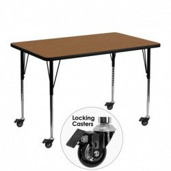 MFO Mobile 30''W x 48''L Rectangular Activity Table with Oak Thermal Fused Laminate Top and Standard Height Adjustable Legs