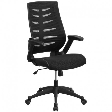 MFO High Back Black Mesh Chair with Designer Fabric Seat and Nylon Base