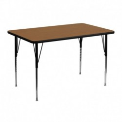 MFO 30''W x 48''L Rectangular Activity Table with Oak Thermal Fused Laminate Top and Standard Height Adjustable Legs