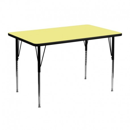 MFO 30''W x 48''L Rectangular Activity Table with Yellow Thermal Fused Laminate Top and Standard Height Adjustable Legs