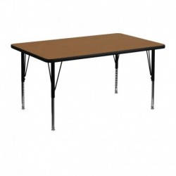 MFO 30''W x 48''L Rectangular Activity Table with Oak Thermal Fused Laminate Top and Height Adjustable Pre-School Legs