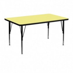 MFO 30''W x 48''L Rectangular Activity Table with Yellow Thermal Fused Laminate Top and Height Adjustable Pre-School Legs