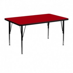 MFO 30''W x 48''L Rectangular Activity Table with Red Thermal Fused Laminate Top and Height Adjustable Pre-School Legs