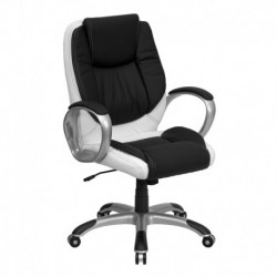 MFO Mid-Back Black and White Leather Executive Swivel Office Chair