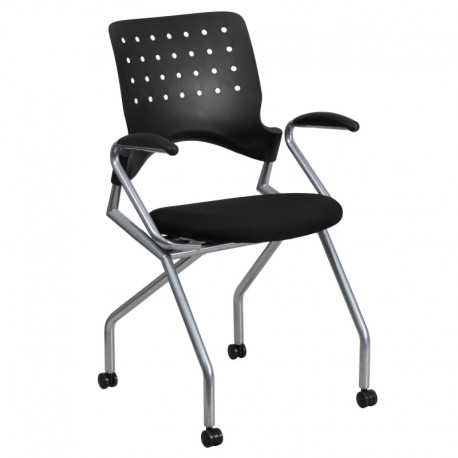 MFO Galaxy Mobile Nesting Chair with Arms and Black Fabric Seat