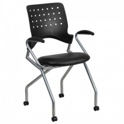 MFO Galaxy Mobile Nesting Chair with Arms and Black Leather Seat