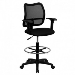 MFO Mid-Back Mesh Drafting Stool with Black Fabric Seat and Arms