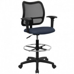 MFO Mid-Back Mesh Drafting Stool with Navy Blue Fabric Seat and Arms