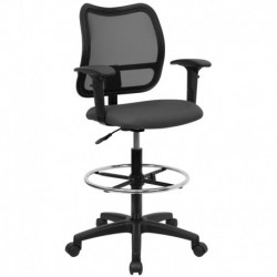 MFO Mid-Back Mesh Drafting Stool with Gray Fabric Seat and Arms