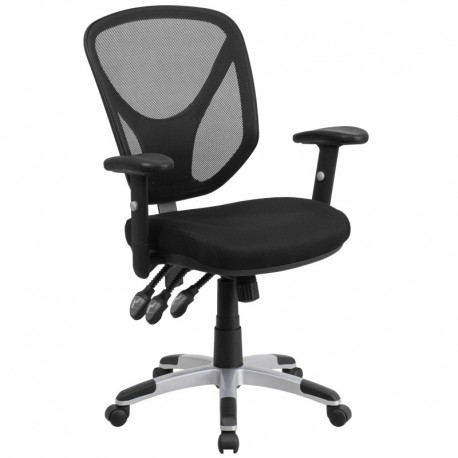 MFO Mid-Back Black Mesh Chair with Triple Paddle Control and Height Adjustable Arms