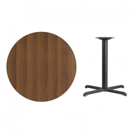 MFO 36'' Round Walnut Laminate Table Top with 30'' x 30'' Table Height Base