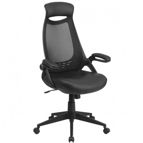 MFO High Back Executive Black Mesh Chair with Leather Seat and Flip-Up Arms