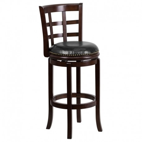 MFO 29'' Cappuccino Wood Bar Stool with Black Leather Swivel Seat