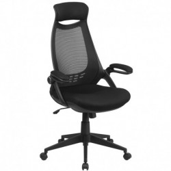 MFO High Back Executive Black Mesh Chair with Flip-Up Arms