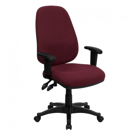 MFO High Back Burgundy Fabric Ergonomic Computer Chair with Height Adjustable Arms