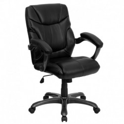 MFO Mid-Back Black Leather Overstuffed Office Chair