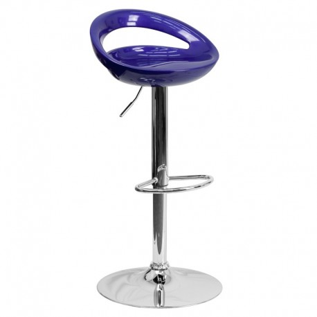 MFO Contemporary Blue Plastic Adjustable Height Bar Stool with Chrome Base