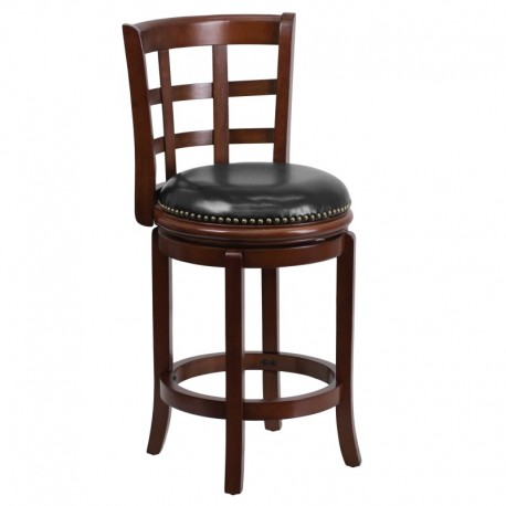 MFO 24'' Cherry Wood Counter Height Stool with Black Leather Swivel Seat