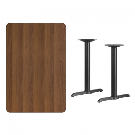 MFO 30'' x 45'' Rectangular Walnut Laminate Table Top with 5'' x 22'' Table Height Bases